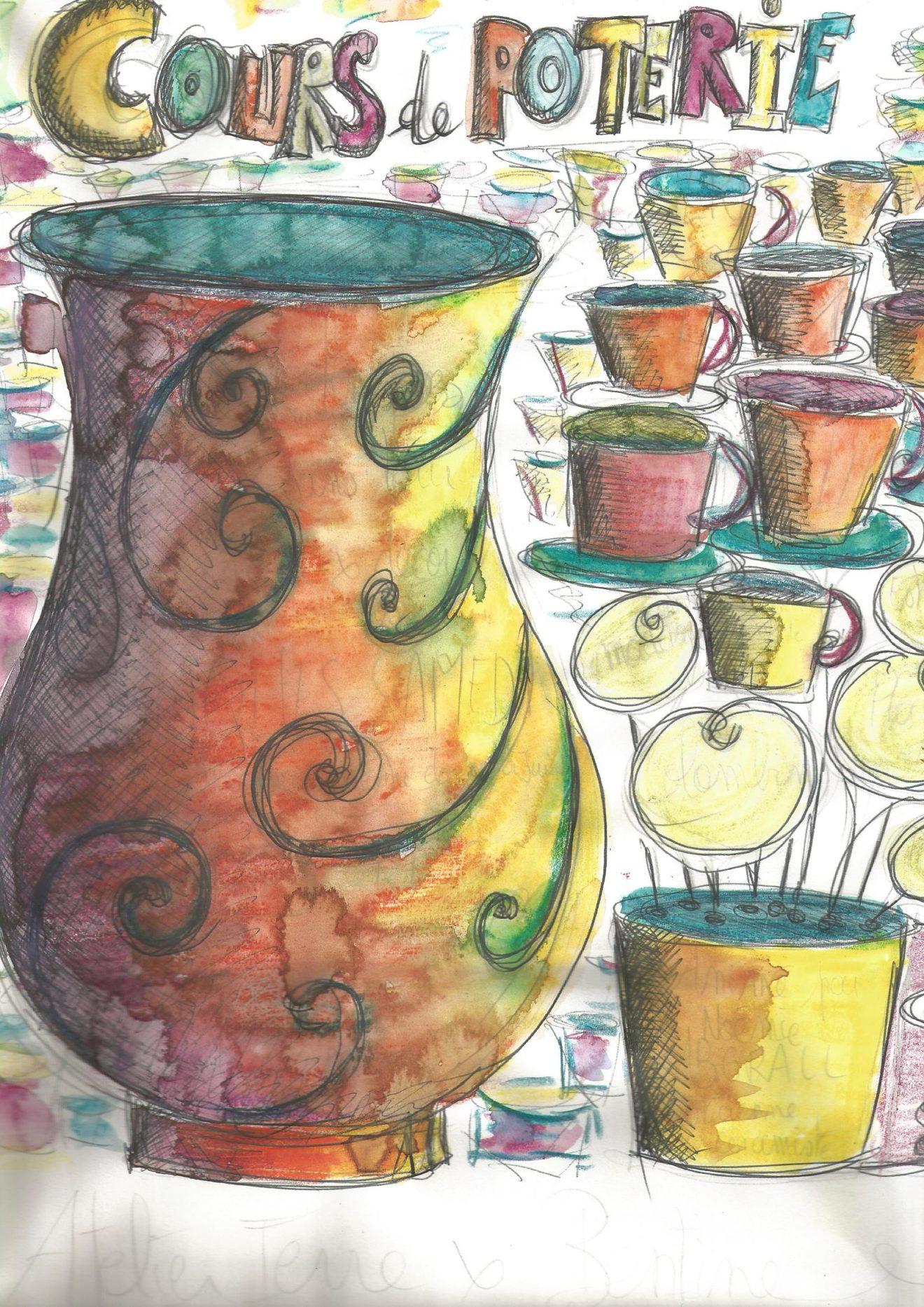 Créations d'élèves en poterie