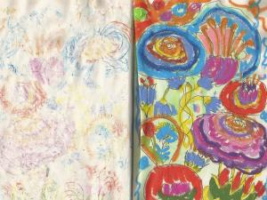 Fleurs stylo bille et pastels gras Terre & Bentine
